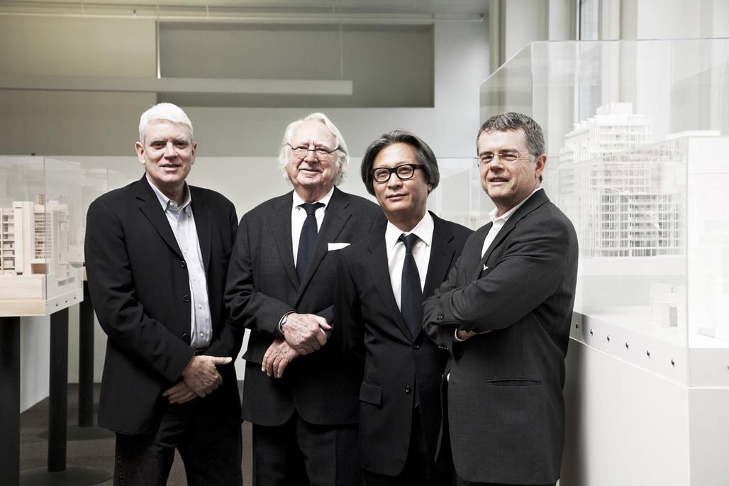 From left to right: Bernhard Karpf, Associate Partner; Richard Meier, Managing Partner; Dukho Yeon, Associate Partner; Reynolds Logan, Associate Partner - Copyright Silja Magg