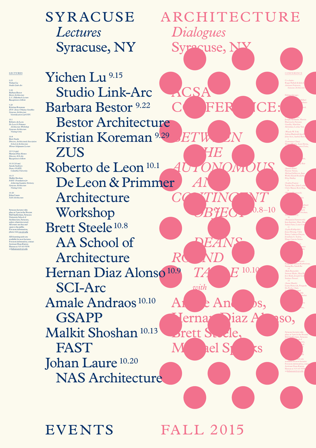 Syracuse Architecture Fall 2015 Lecture Series. Courtesy of Syracuse Architecture.