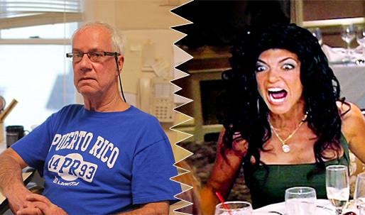 """""""It's offensive:"""" Architect John Fellgraff (left) is furious that—supposedly—bankrupt 'New Jersey Housewife' Teresa Giudice (right) won't pay him for his services but can afford a $90,000 Lexus SUV as a getting-out-of-jail gift. (Photos: Joe Donnelly/Dailymail.com; Bravo)"""