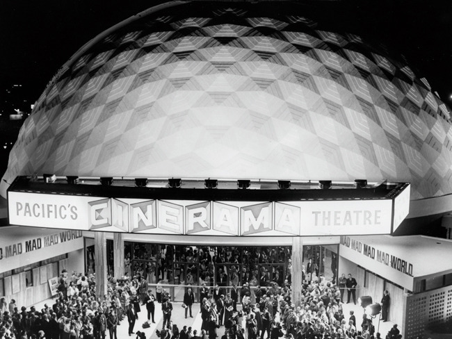 Le tout Hollywood came out on November 7, 1963, for the premiere of It's a Mad, Mad, Mad, Mad World on the Cinerama Dome's big opening night. (Photography courtesy of Los Angeles Public Library photo collection, via http://la-confidential-magazine.com)