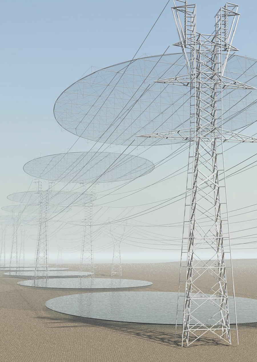 """From Cristina Jorge Camacho's """"SEEDING MICRO-CLOUDS. Power Transmission Lines & WaterTransmission Surfaces"""" proposal."""