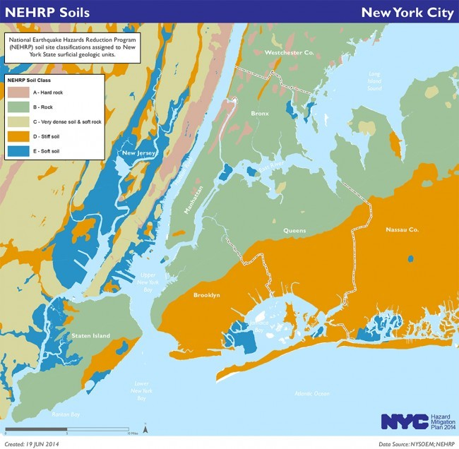Map of soil classifications in New York City's 2014 Hazard Mitigation Plan (via urbanomnibus.net; Image: NYC OEM)