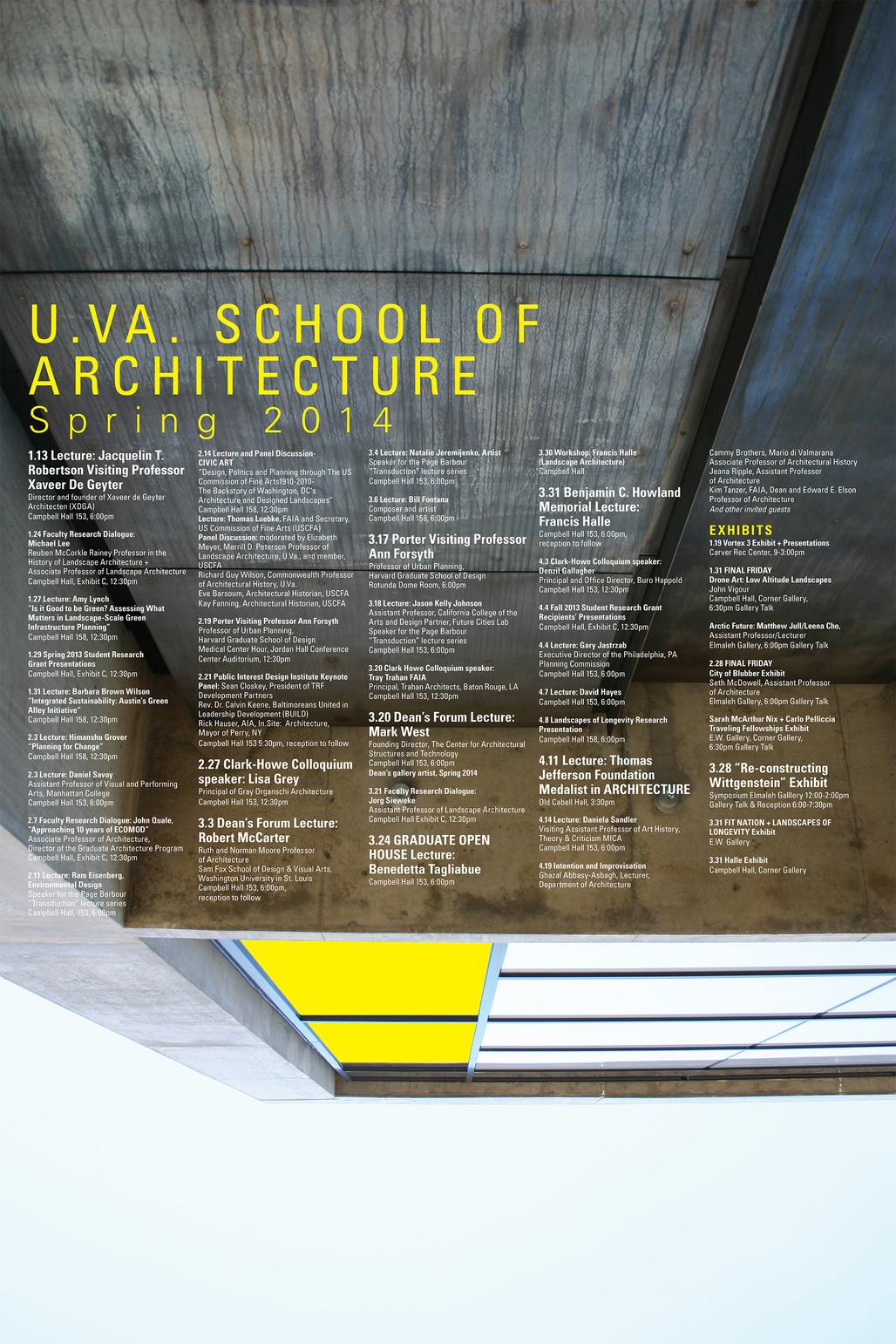U.VA Spring '14 Lecture Events. Image courtesy of U.VA School of Architecture.