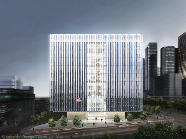 A rendering of the new federal courthouse that will be located at the corner of First St. and Broadway in Downtown LA. Photo courtesy of SOM.