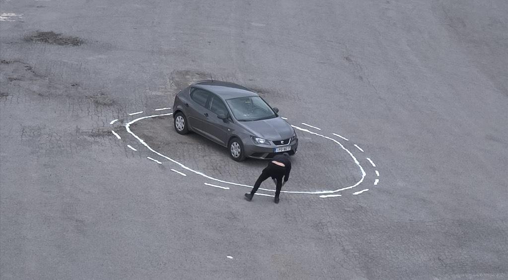 """James Bridle entraps a self-driving car in a """"magic"""" salt circle. Image: Still from Vimeo, """"Autonomous Trap 001."""""""