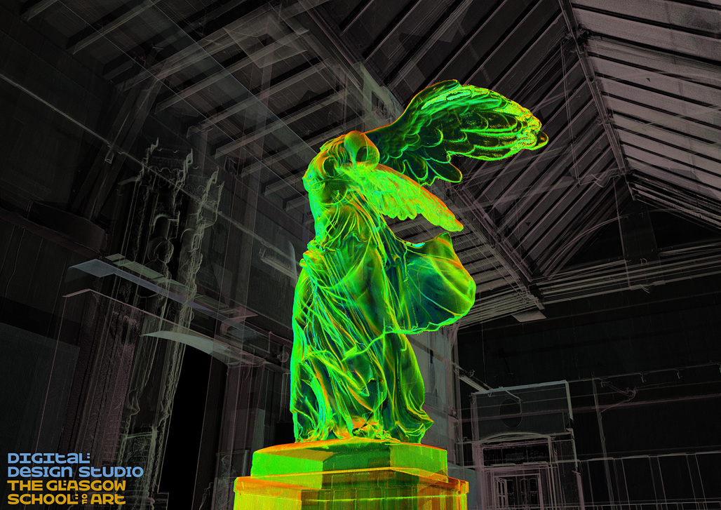 """""""Winged Visionary in the Mackintosh Museum,"""" created via 3D rendering/pointcloud by the GSA. Image: The Digital Design Studio at The Glasgow School of Art."""