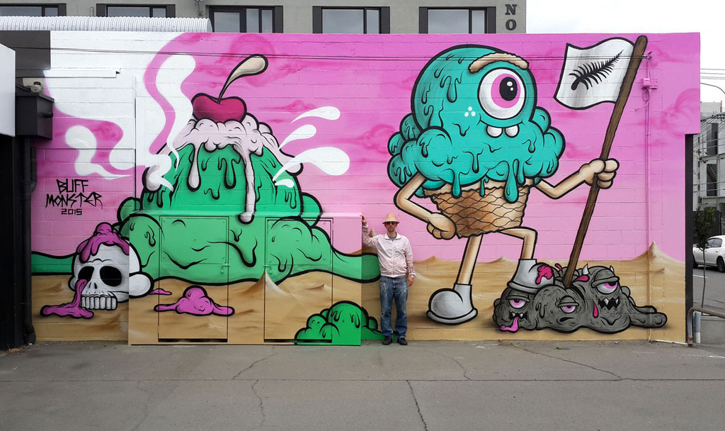 Dissident or decorative? A 2015 mural by prominent American street artist Buff Monster in Christchurch, New Zealand. (Image via the artist's website)