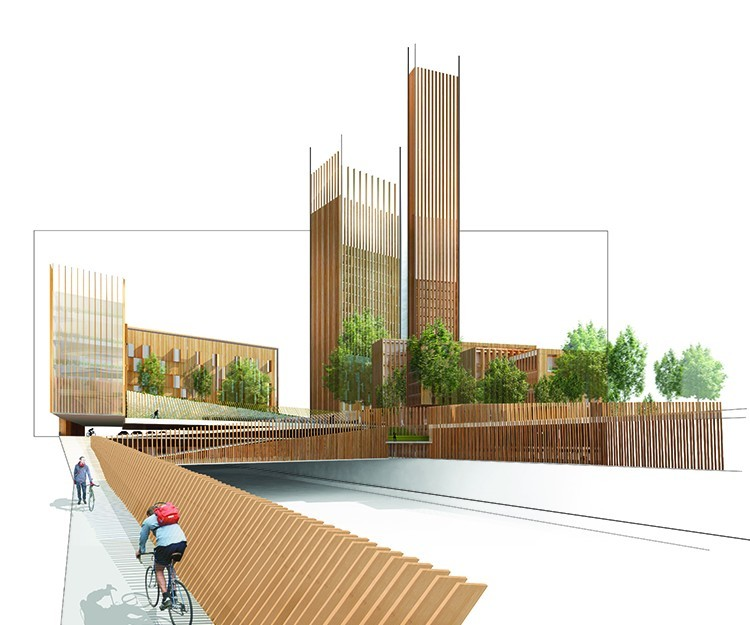 Michael Green Architecture's proposed 35-story wooden skyscraper for Paris is just one of many high-rise timber structures happening right now. (Image via mg-architecture.ca)