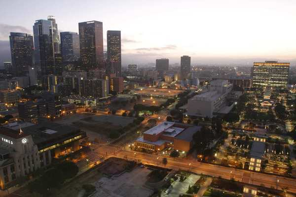 The new Grand Park is at the right as dusk descends on downtown. The photograph was shot from the top of City Hall. (Photo: Francine Orr / Los Angeles Times / July 23, 2012)