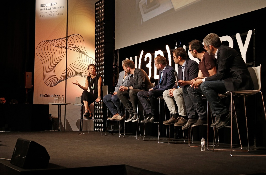 """Architecture & Habitat Panel at IN(3D)USTRY """"From Needs to Solutions"""" 2016, with Areti Markopoulou, director of the Institute for Advanced Architecture of Catalonia, Nils Fischer, Senior Associate at Zaha Hadid Architects, Robert Stuart-Smith, Ferran Figuerola, Ceo at Cricursa, Jose Daniel García, Technology Transfer Director at Acciona, Enrico Dini, Founder at D-Shape and Dave Pigram, Director at Supermanoeuvre"""