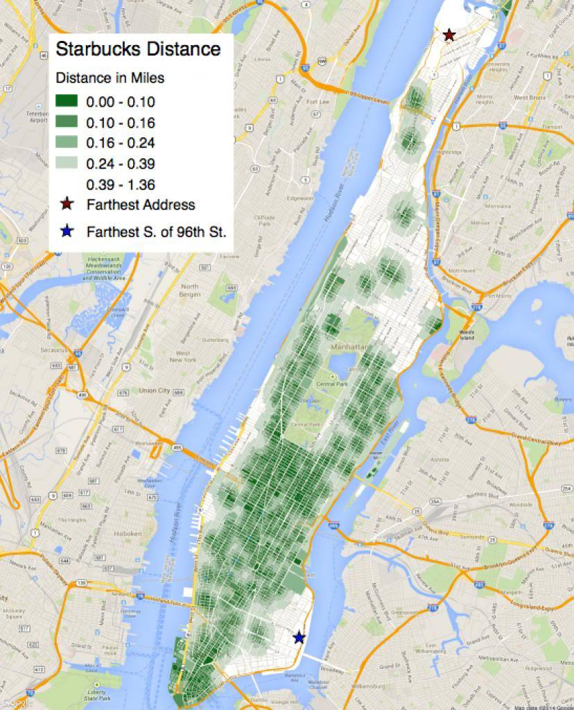 Distance to Starbucks from each lot in Manhattan, from I Quant NY.