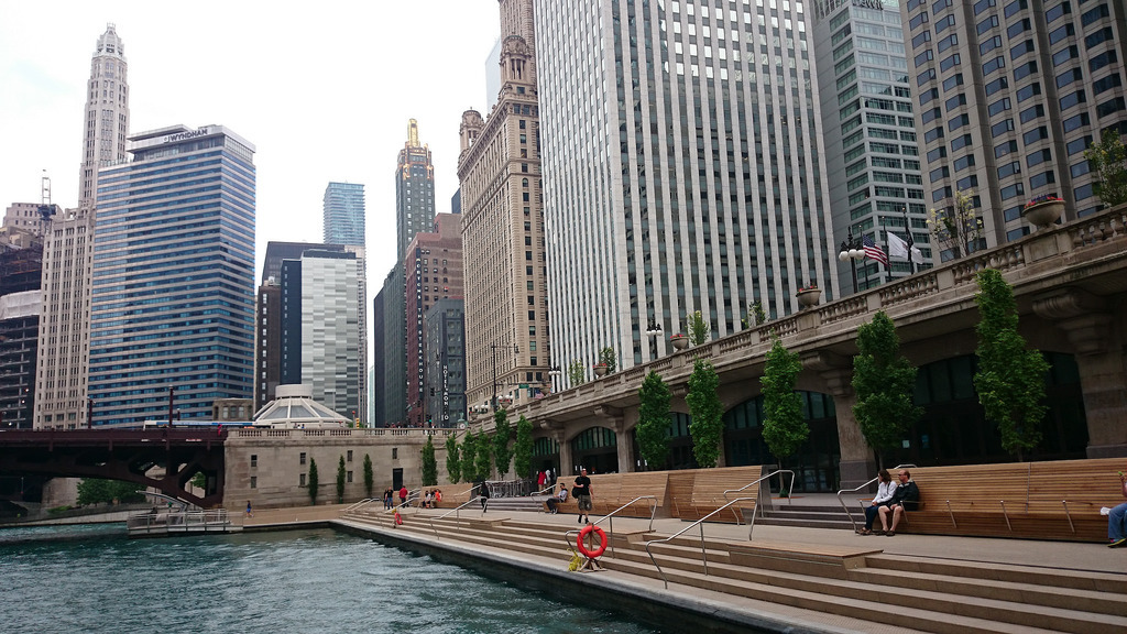 Chicago's downtown riverwalk, by Sasaki Associates, opened earlier this year. Image via wikipedia.org.