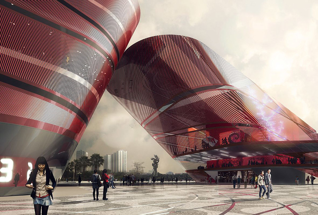 Competition-winning design for the new Cultural Complex in Shenzhen by Mecanoo (Rendering: Doug and Wolf)