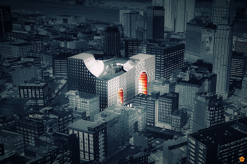 """Rendering of """"The Grand Opening"""" proposal for the Redesigning Detroit: A New Vision for an Iconic Site competition"""