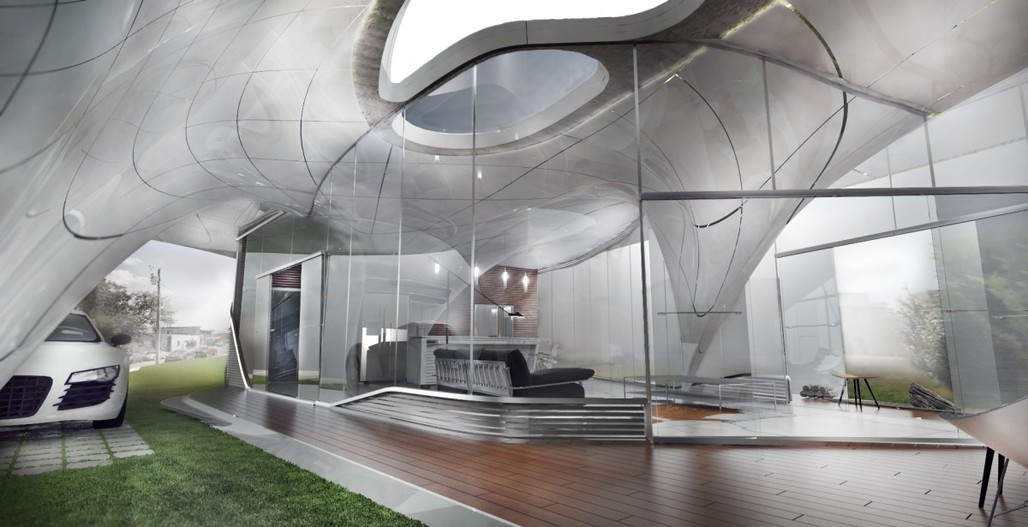 """A rendering of the mostly 3D printed """"Curve Appeal."""" Image: Daniel Caven/WATG Chicago Urban Architecture Studio"""