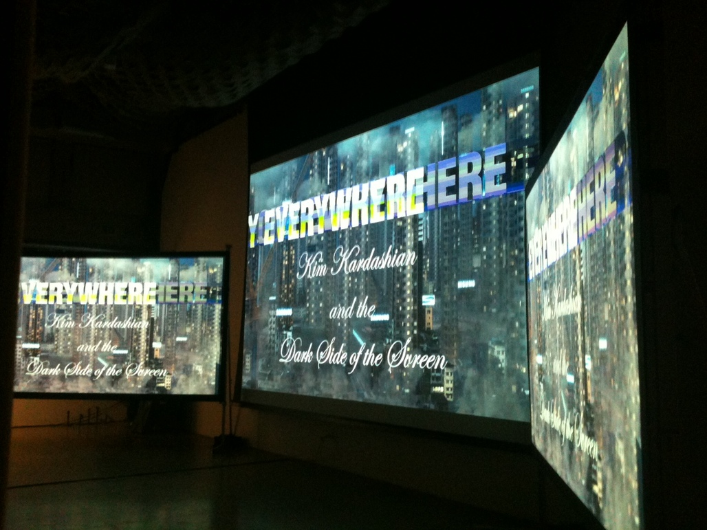Young's three screens in SCI-Arc's W.M. Keck lecture hall.