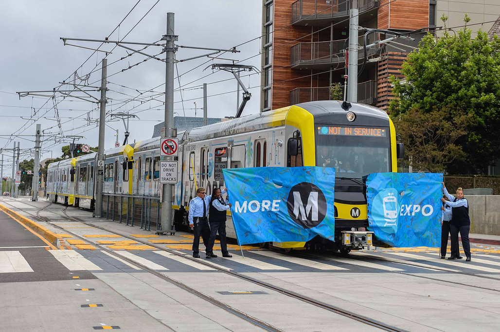 Hooray, the train's finally running all the way to downtown Santa Monica again – for the first time since 1953. (Photo: LA Metro)