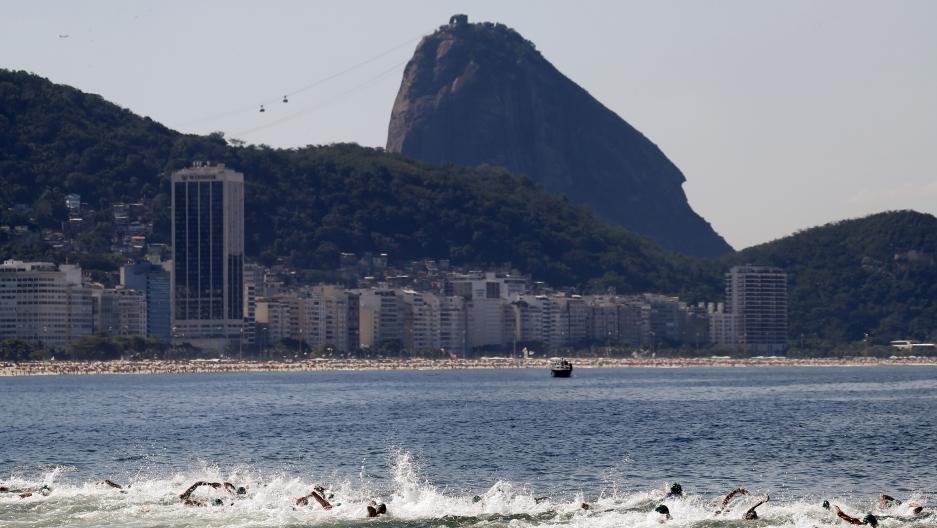 Competitors swim on Copacabana beach in Rio de Janeiro, Brazil, August 2, 2015. Credit: Sergio Moraes/Reuters, via pri.org.