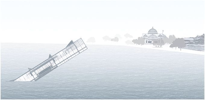 "Stanley Tigerman's ""The Titanic"" (1978). Courtesy of The Atlantic Cities"