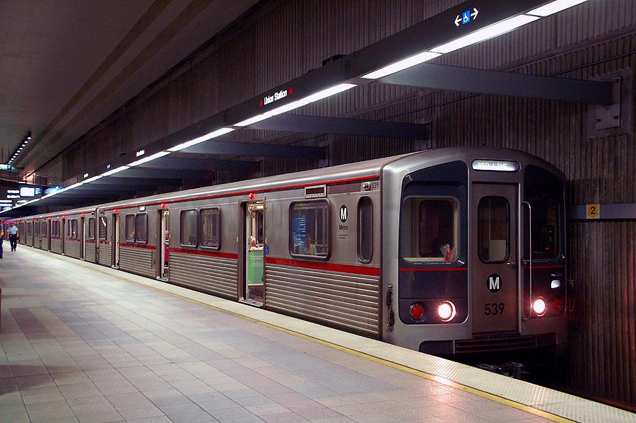 A red line train at LA's Union Station. Image via Wikipedia