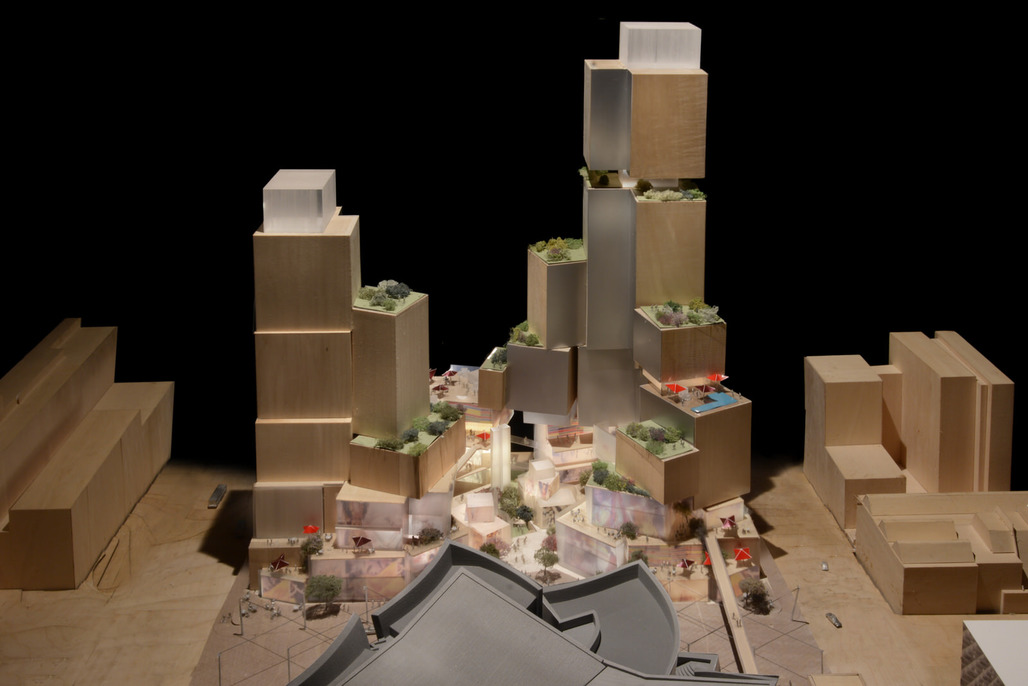 Model of Frank Gehry's conceptual plan for L.A.'s Grand Ave. project.