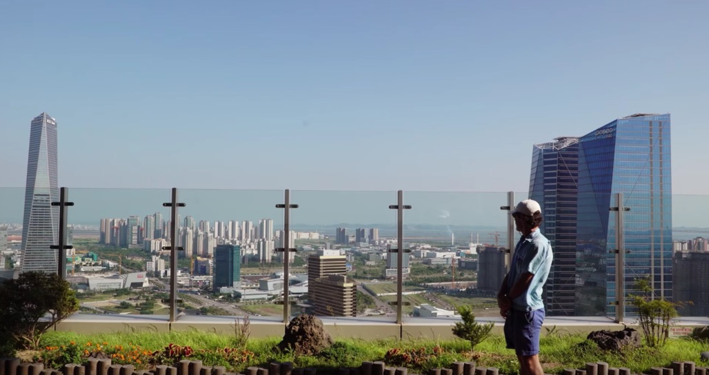 """Screenshot from Oscar Boyson's """"The Future of Cities"""", overlooking construction in Songdo, South Korea."""