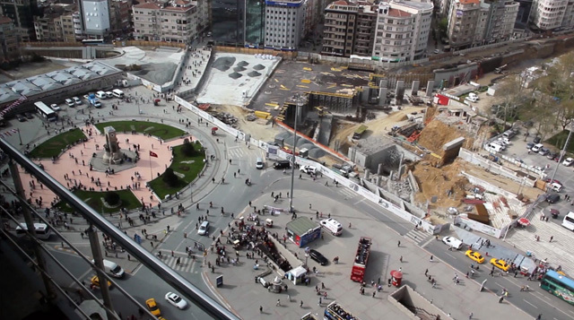 Taksim Square in construction, victim of the government's pedestrianization scheme that will render it impotent as a space for political demonstration. Roads leading to the square will become tunnel entrances, making marches impossible and defense by the police easy, as we witnessed in this wave...