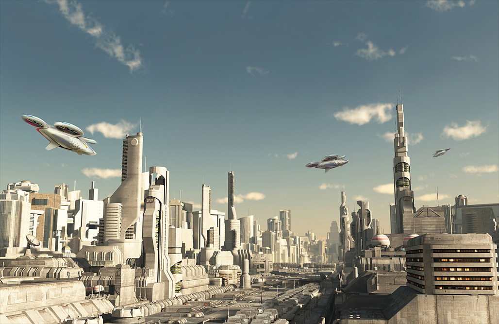 """This futuristic city scene illustration allows a first (vague) glimpse at the proposed multipropeller CityAirbus vehicle. Widespread adoption of this autonomous """"drone taxi"""" is supposedly just around the corner, according to Airbus. (Image courtesy of Airbus Group)"""