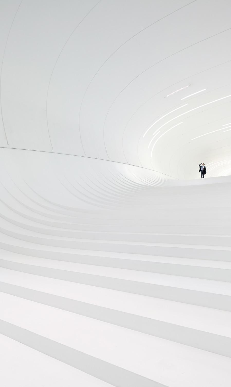 Overall Winner - Hufton + Crow for Heydar Aliyev Center in Baku, Azerbaijan by Zaha Hadid Architects. Photo courtesy of Arcaid Images Architectural Photographer of Year 2014 award.