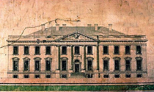 A 1793 elevation of the White House by architect James Hoban, who won the design competition to build the president's new home.