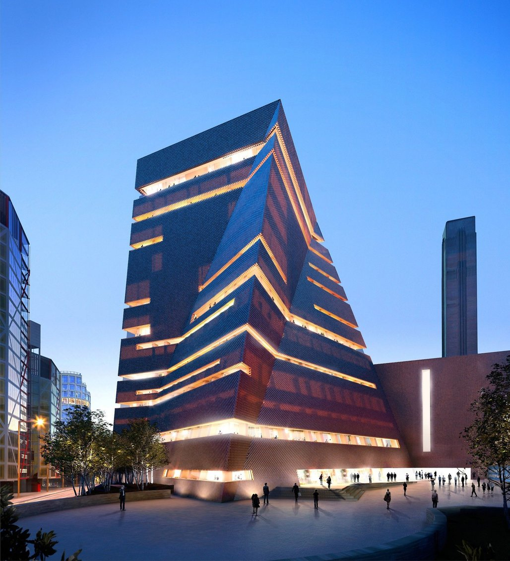 """The """"Switch House"""" extension of the Tate Modern by Herzog and de Meuron. Image credit: Hayes Davidson and Herzog & de Meuron via the Guardian"""