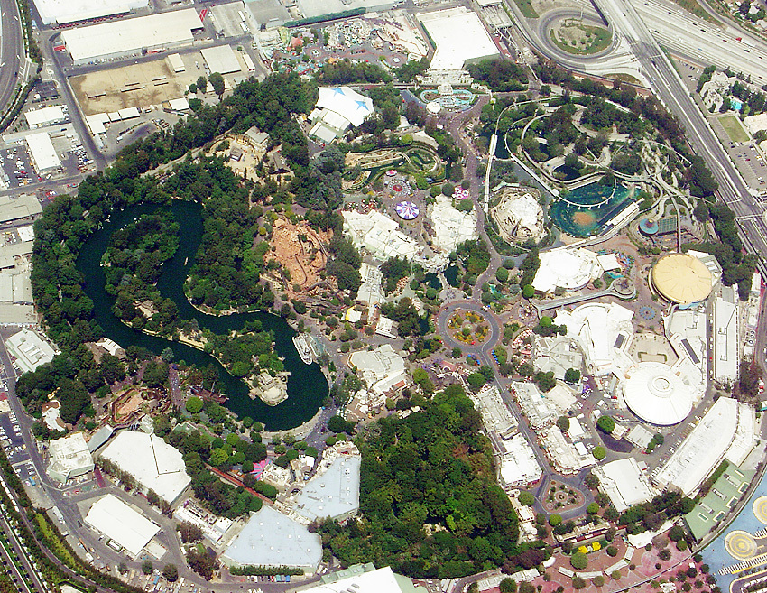 Aerial view of Disneyland in Anaheim. Image via wikipedia.org, uploaded by Horst Frank.