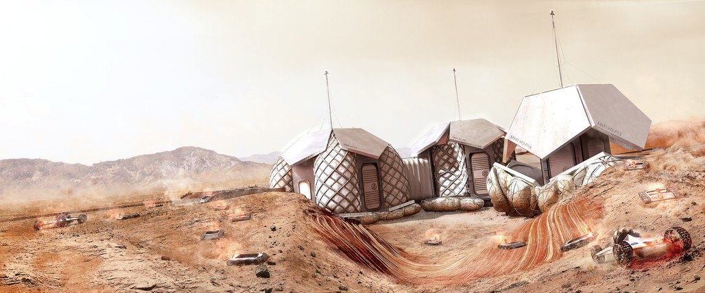 Foster + Partners' Mars Habitat concept. Image © Foster + Partners.