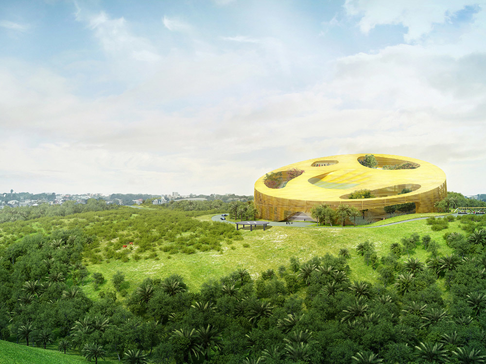 Winning design for the Assembly Hall for the 2014 Summit of the African Union in Libreville, Gabon by WORKac (Image: WORKac)