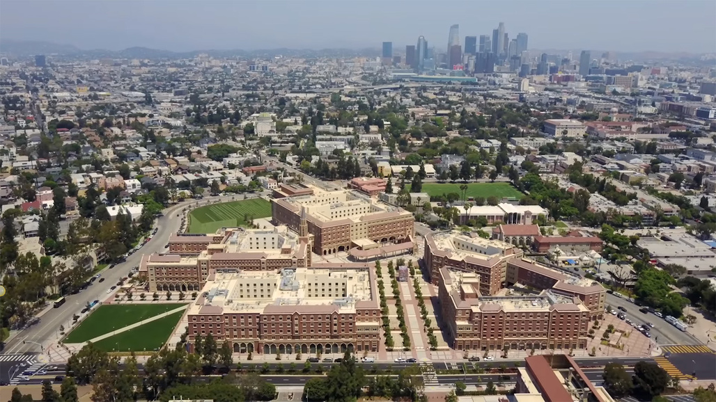 Aerial view of the $700-million USC Village development in South Los Angeles.