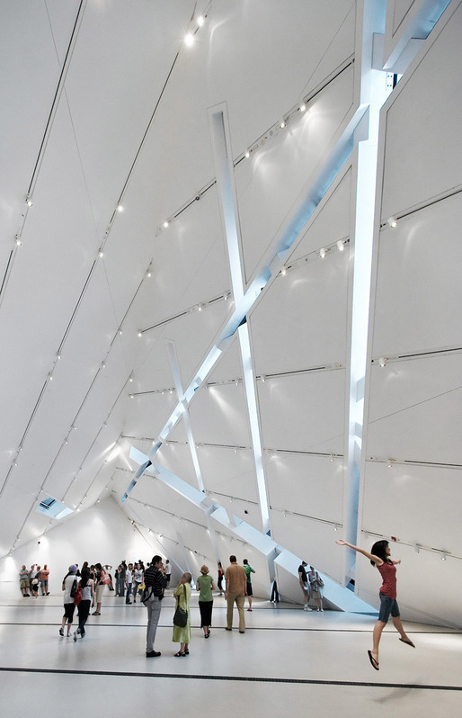 """Jumping Girl"" The Crystal by Daniel Libeskind at Royal Ontario Museum (ROM), interior, Toronto, ON © Sam Javanrouh"