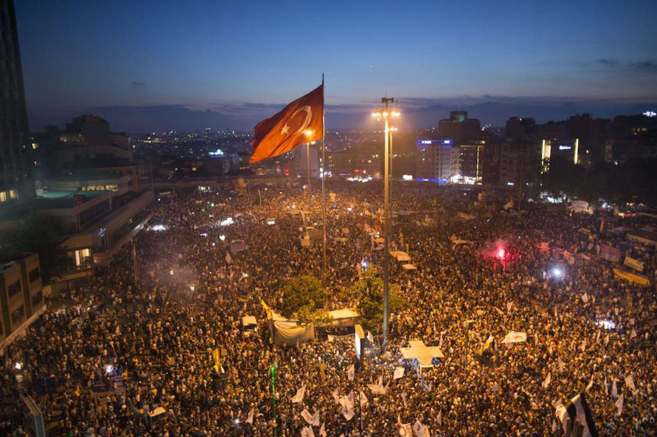Taksim Square and Gezi Park during the 2013 protests. Photo via Wikipedia