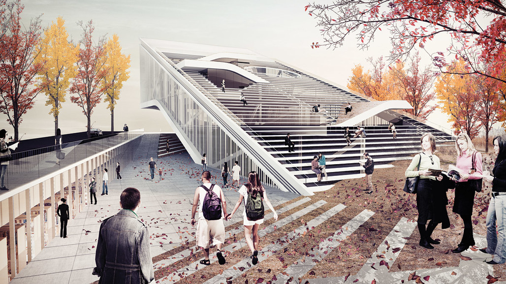 Honorable mention for Sunggi Park's entry in the Daegu Gosan Public Library competition (Image: Sunggi Park)