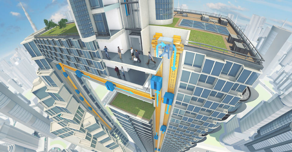 """Schematic illustration of ThyssenKrupp's cable-free MULTI elevator system which enables vertical and horizontal movement and promises to increase the shaft transport capacity """"by up to 50% and making it possible to reduce the elevator footprint in buildings by half."""""""