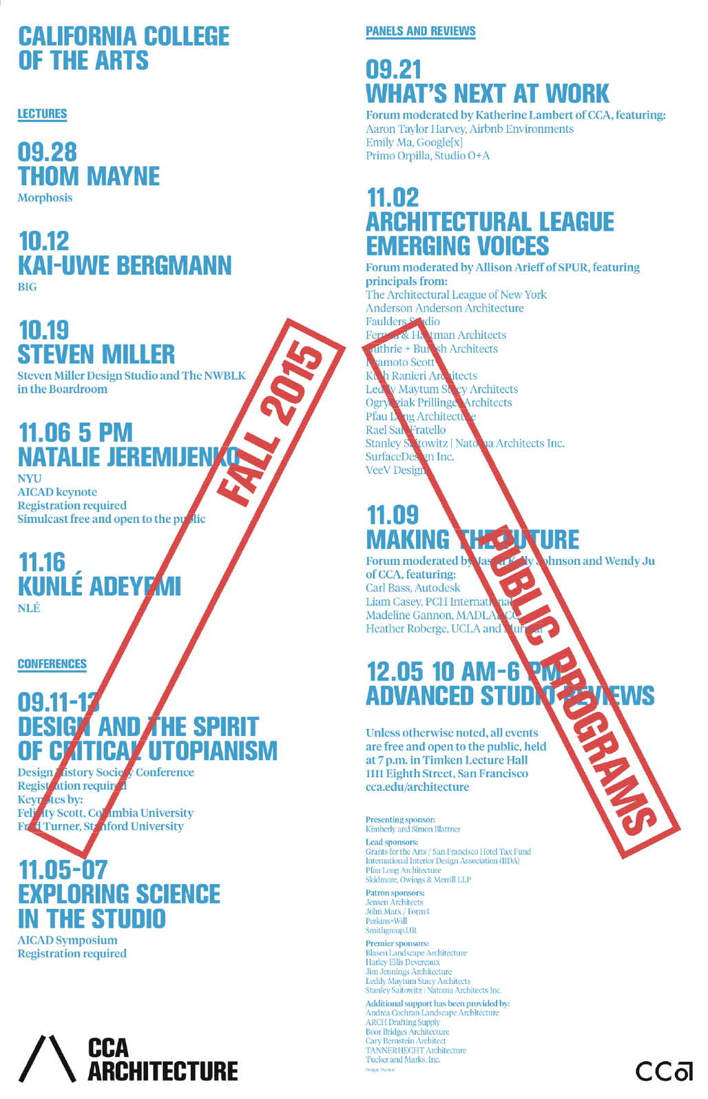Fall 2015 Architecture Division Lecture Series poster. Courtesy of CCA.