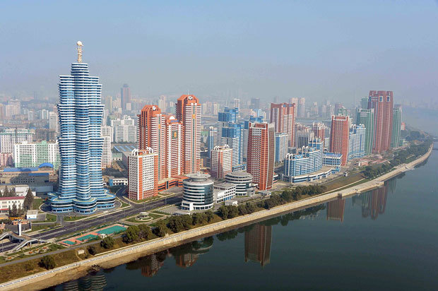 """Move over, Dubai: the candy-colored Mirae (""""Future"""") Scientists Street in the heart of Pyongyang is nearing completion after being introduced as a concept only last year. North Korea insiders suspect an increase of foreign investment and the rise of private real estate business under the guise of state agencies."""