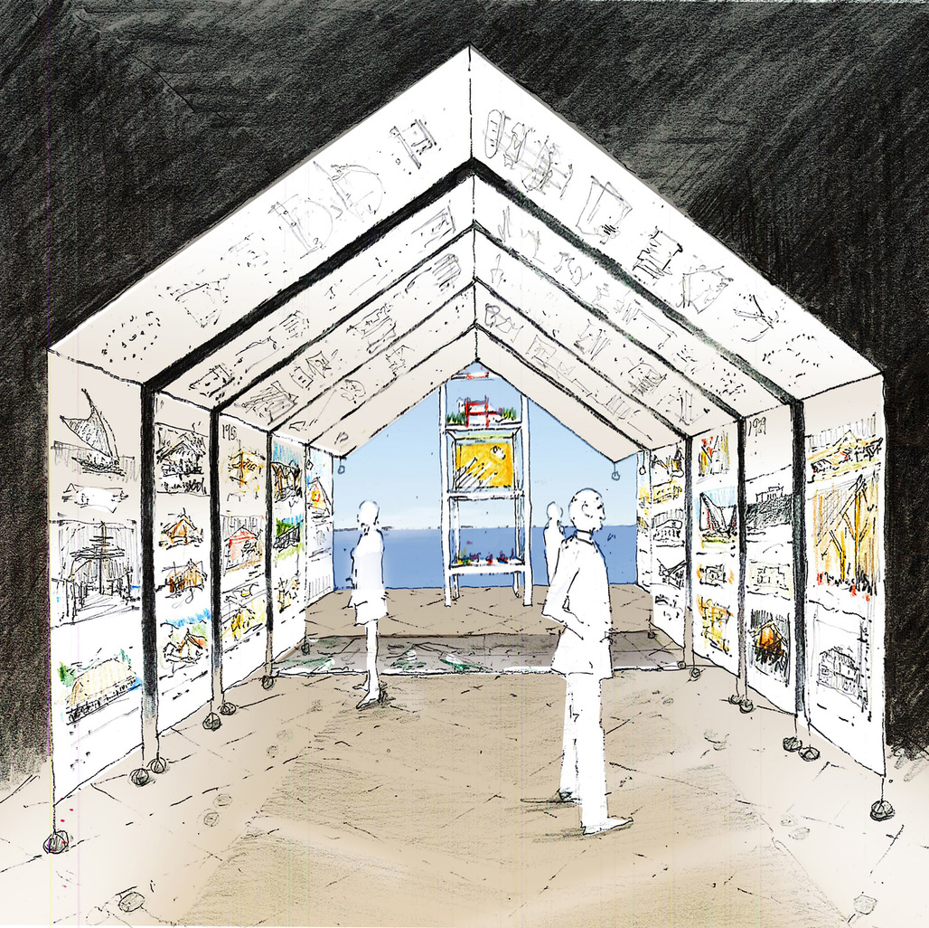 Julie Stout, Concept sketch for the New Zealand Exhibition at the 14th Venice Architecture Biennale, 2014. ©Mitchell & Stout Architects