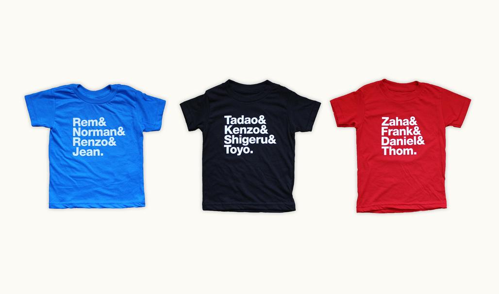 REM & NORMAN & RENZO & JEAN, TADAO & KENZO & SHIGERU & TOYO and ZAHA & FRANK & DANIEL & THOM kids t-shirts by Tiny Modernism.
