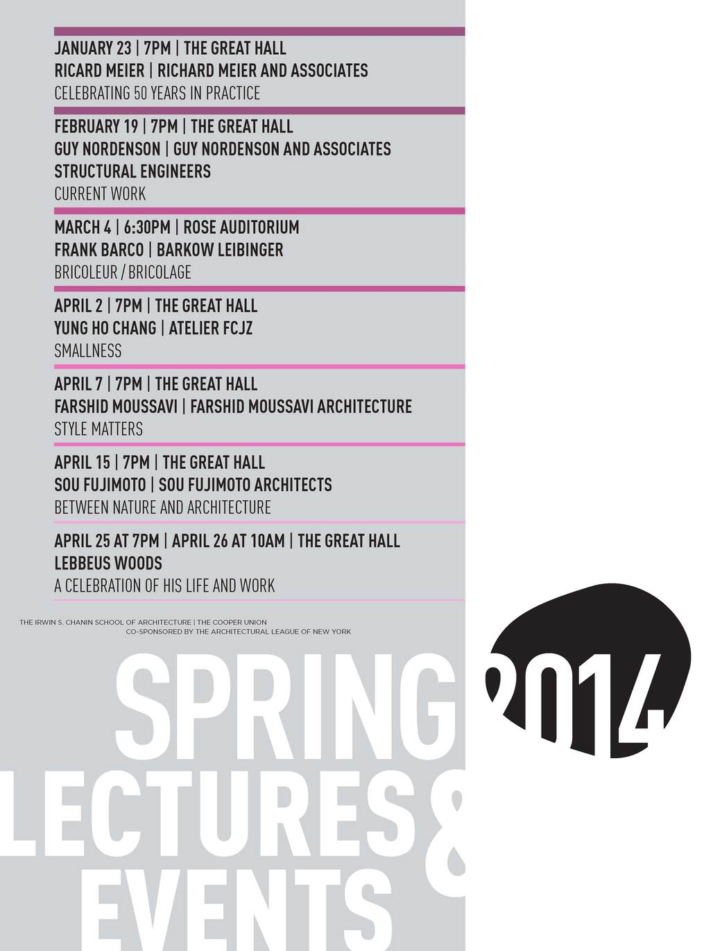 Spring '14 Lectures and Events. Image courtesy of The Irwin S. Chanin School of Architecture at Cooper Union.
