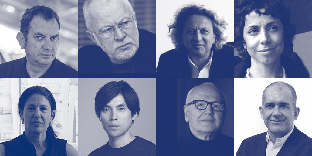 Wheelwright Prize 2014 Jury (clockwise from upper left): Iñaki Ábalos, K. Michael Hays, Mohsen Mostafavi, Sílvia Benedito, Pedro Gadanho, Jorge Silvetti, Shohei Shigematsu, Linda Pollak. Image via the Wheelwright Prize.