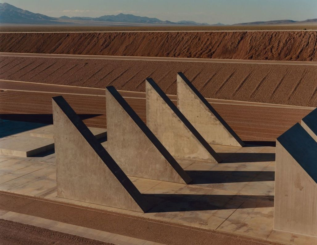 """Heizer, a pioneer of the earthworks movement, began """"City"""" in 1972. A mile and a half long and inspired by ancient ritual cities, it is made from rocks, sand, and concrete mined and mixed on site. PHOTOGRAPH BY JAMIE HAWKESWORTH FOR THE NEW YORKER"""