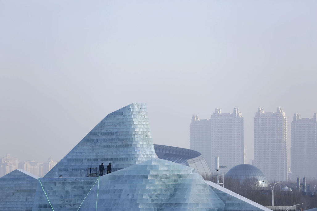 One of the entirely ice and snow-built structures from 2016's Harbin Ice and Snow Festival. Photo: Aly Song / Reuters via The Atlantic