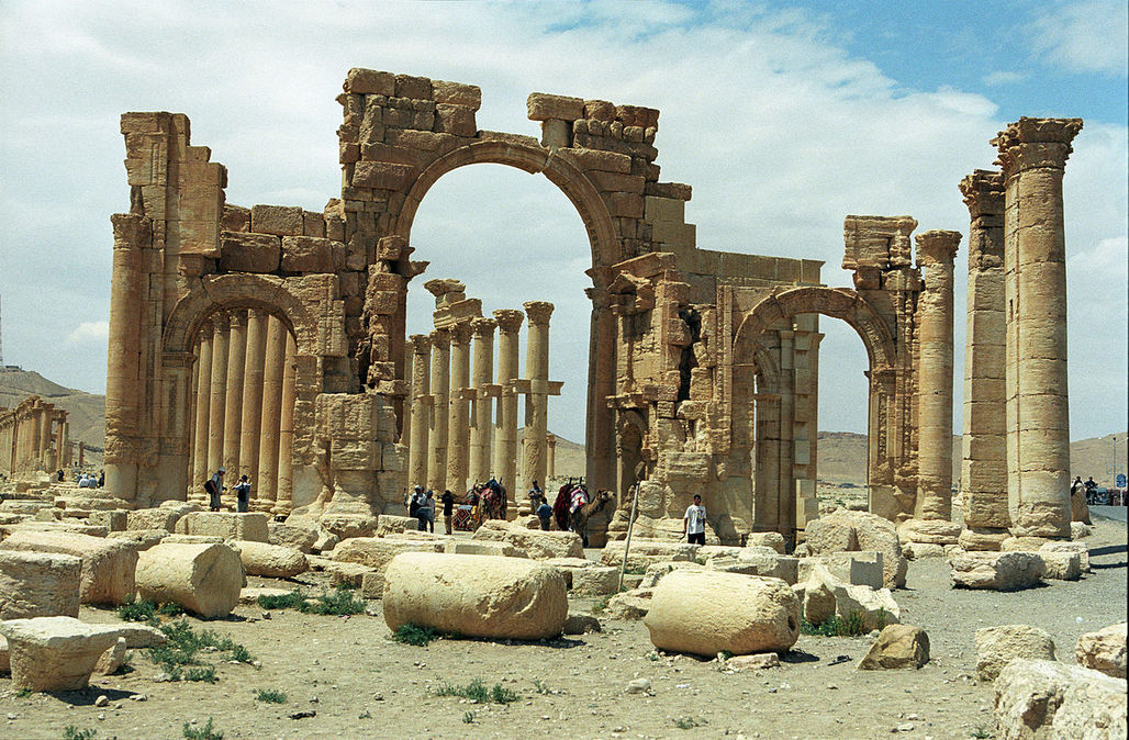 Officials confirmed the destruction of the Arch of Triumph, the central element of Palmyra's Grande Colonnade Street. (Photo: Jerzy Strzelecki; Image via Wikipedia)