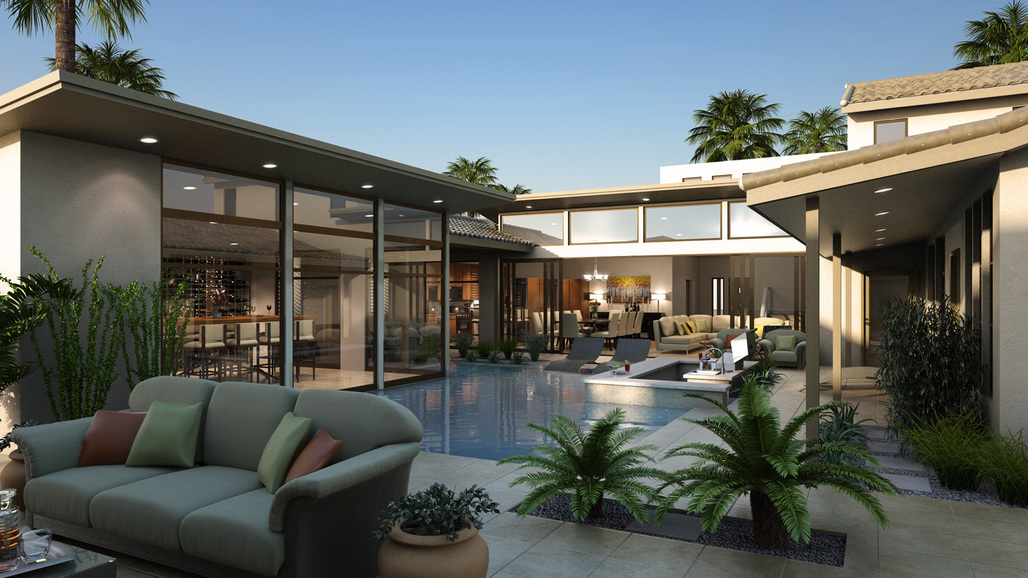 KTGY's new R&D design concept uses sliding glass doors to blur the line between indoor and outdoor living. Photo credit: KTGY Group, Inc.