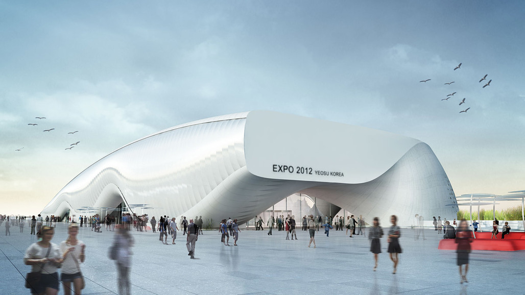 """Rendering of """"One Ocean"""", Thematic Pavilion EXPO 2012 in Yeosu, South Korea (Image: soma)"""